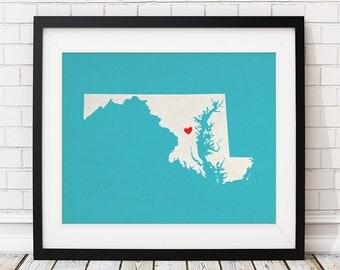 Custom Maryland State Art, Customized State Map Art, Personalized Gift, Maryland Art, Heart Map, Maryland Map, Baltimore MD, Maryland Print