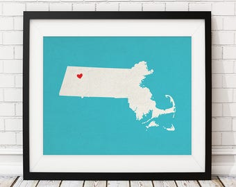 Custom Massachusetts Art, Boson MA State Art, Customized State Map Art, Heart Map Print, Massachusetts Map, Massachusetts Print,