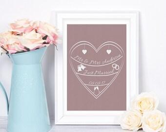 Personalised Gift, Wedding Gift, Custom Wedding Print, Personalised Wedding, Wedding Print, Wedding Present, Custom Wedding Gift, Wall Art