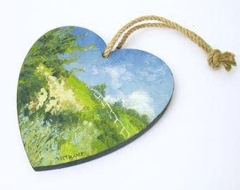 oil painting // wooden heart landscape of dunes // hand-painted decorative item