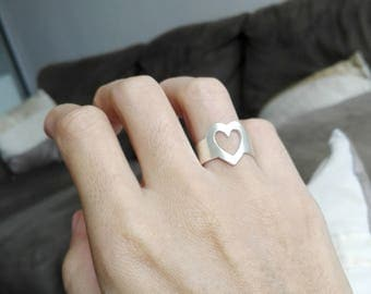 Adjustable middle ring heart, adjustable ring in 999 sterling silver, adjustable silver ring heart.