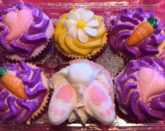 Set Of Six Miniature Bath Bomb Cupcakes With Bubble Bath Frosting