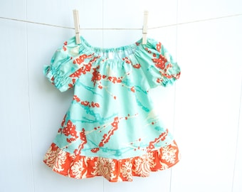 """Girls Bird Peasant Top-Stunning Sparrows-Ruffled Peasant Blouse-Joel Dewberry's """"Aviary 2"""" Collection-Turquoise & Orange-Damask and Birds"""