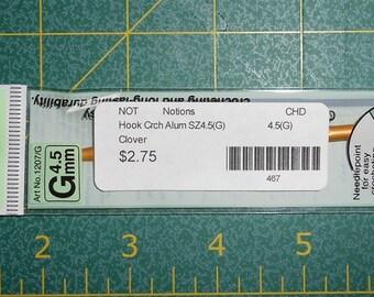 Crochet Hook - choose 1- G/H/I or J -aluminum crochet hooks G (4.5mm)/ H (5.0mm)/ I (5.5mm)/ J (6.0mm) - Clover Mfg.