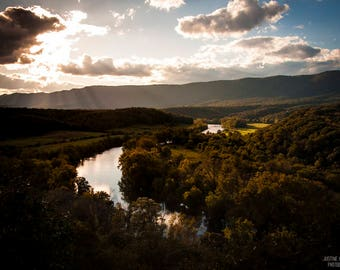 Shenandoah River Valley: WALL ART Fine Art Landcape Photography Dark Color Sunset Dramatic Color Virginia Autumn Water Blue Sky Sunshine