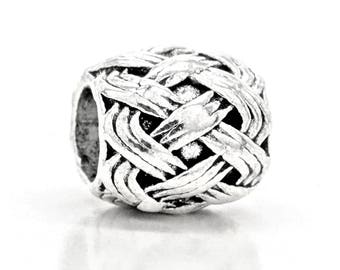Sterling silver bracelet charm interesting woven design 4mm size with purple gift bag and black jewelry box included