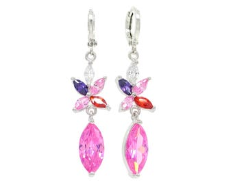 Authentic white gold plated sparkly drop pink marquise earrings, different colored gems, sparkling pink, purple jewelry bag black gift box