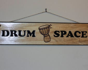 Carved Wood Sign - Drum Space Drummer Percussion
