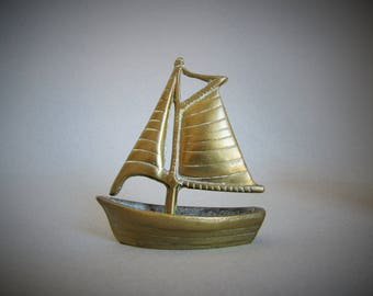 Brass Vintage Sail Boat Ornament-  Vintage Sailing Boat - Nautical / sea , ocean , salt water, Swallows & Amazons