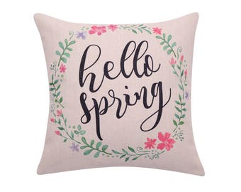 Watercolor flower throw pillow covers Spring wreath pillow covers Hello spring decorative pillow case Quote cushion case Home decor 18x18