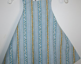 4T, Blue and Yellow Daisy Reversible Sundress with Burgandy Pineapple Print.