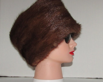 superbe riche et luxueux  bandeau de fourrure de vison brun moyen /Superb  rich/luxurious médium brown mink fur headband