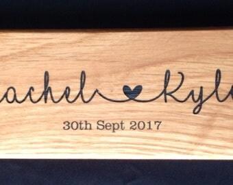 Personalised Oak Wedding Sign