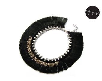 Fashion Jewelry Modern Black Boho Chrochet Bib Necklace with Metal Chain, Cotton and Metal Pendants