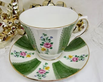 Duchess Floral Pattern with Green Bands Pattern Bone China Footed Teacup and Saucer Birthday/Housewarming Teacup Gift