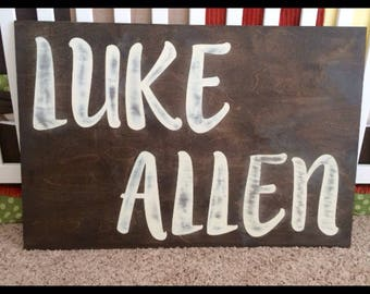FREE SHIPPING** 24x36 rustic name sign stained and painted/or choose two paint colors.