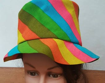 Vintage 60s HAPPY CAPPERS Los Angeles California MOD Groovy Bright Stripes Hat Cap Striped The Field Company