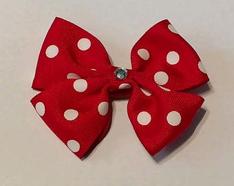 Red Double Ruffle Bow