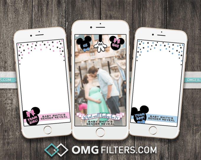 Mouse Gender Reveal Party- Custom Snapchat Filter