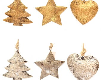 6pcs Swirl Christmas Hanging Ornaments Decorations Handmade Metal Silver Gold Xmas Decor