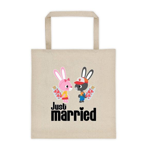Just Married Tote bag, Just Married Wedding Gift, Bridal Tote Bag, Wedding Tote Bag, Honeymoon Tote Bag, Bride Gift, Bridal shower gift