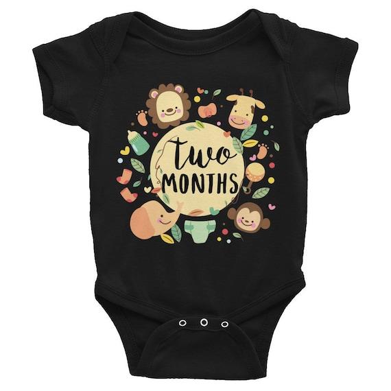 Two Months Milestone Onesie Infant Bodysuit,  2 Months Baby Bodysuit, Monthly onesie, Month by Month Bodysuit, Baby Monthly Onesie, Monthly