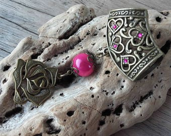 Pink and bronze scarf jewelry