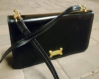 Vintage 50's a frame handbag, vintage black and gold handbag, 50's Kelly style handbag