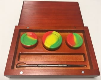 Premium Hand Crafted Wood Dab Box w/ 3 nonstick silicone dab containers and dabstick