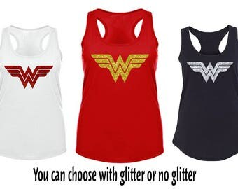 Wonder Woman Glitter Tank Top DC Super Hero, Women Tank top, Wonder Women Costume tank top, workout tank top, Wonder Woman Movie Inspired,