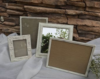Set of 4 antique picture frames, white cottage picture frames, mirror, distressed, shabby chic picture frames, farmhouse, white and gold