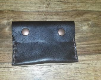 Small brown rigid leather card holder