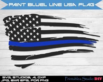 Delta blue line USA flag - svg cuttable Cricut Design Space Silhouette Digital Cut Files Instant Download dxf studio3 png pdf clipart police
