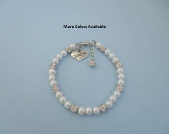 Nana Pearl & Crystal Rhinestone Charm Bracelet-Nana gift-Nana jewelry-Nana bracelet-Nana-Nana birthday gift-Bridal Party gift-Wedding, B1587