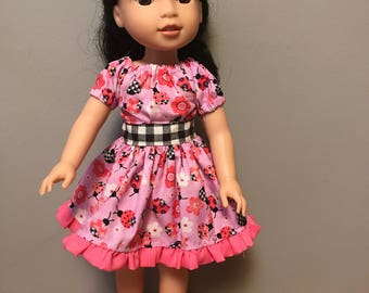 Pink Lady Bug Party dress for 14 inch dolls