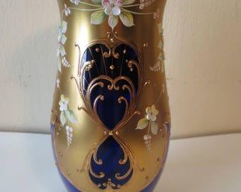 Hand-painted Bohemian Czech vase; cobalt & gold