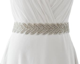 White Ribbon Rhinestones Belt Sash Wedding evening dress Bridal bride Belt Sashes for the party more Colors Available