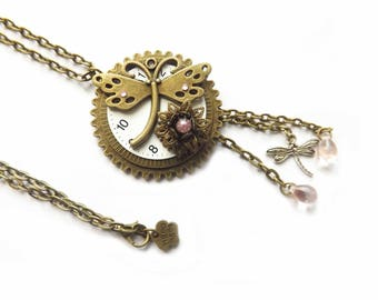 """Steampunk bronze long necklace, with gears charms and watch face, glass pink bead, """"Dragonfly"""""""