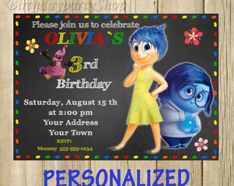 Inside Out Birthday Etsy - Birthday invitations inside out