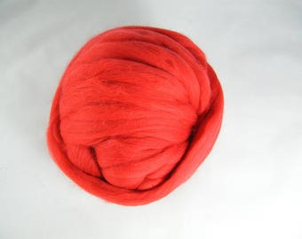 Fire Engine Red Merino Roving - 21.5 Micron - Next to Skin Softness - Vibrant, Rich Colour