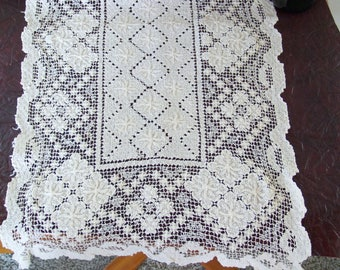 Lace runner 48x13 with diamond and star pattern. Mid-century
