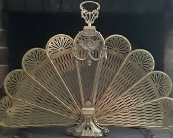Ornate Brass Peacock Fan Vintage 1970s Ornate Fireplace Cover Midcentury Excellent Condition