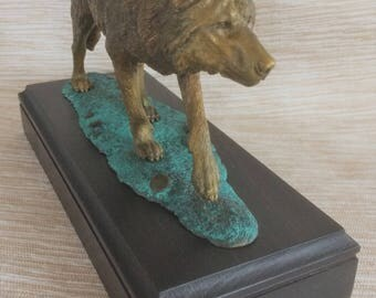 Wild Wolf bronze sculpture.Real bronze.Lost wax casting.Hand made.Patina finish.English oak postament