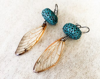 Niobium Earrings Cicada Wing Earrings Real Bug Insect Lover Gift Nature Earrings Preserved Specimen Real Cicada  Eco Resin Wing Earrings
