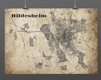 Hildesheim, Germany DIN A4 / DIN A3 - print - turquoise