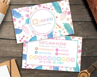 Boho Lula Punch Cards, Free Personalized, Home Office Approved (Colors&Fonts), LLR Loyalty Cards, Buy 10 Get 1 Free, For lularoe Retailer