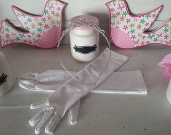 Crown rhinestone + kid gloves