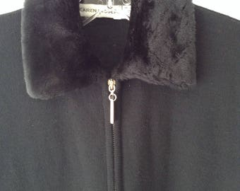 Karen Lessly Black Zippered Cardigan with Faux Fur Collar