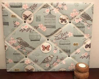 Fabric Memo Board in Blue with Birds and Bird Cages, Notice Board, Pin Board 40cm x 50cm