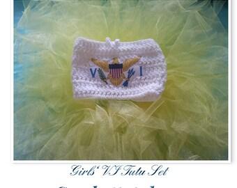 VI Girls' Crochet Bandeau Top/Tutu/Tutu Set